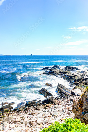 Cliff rocks aerial view by trail by Portland Head Lighthouse in Fort Williams pa Poster