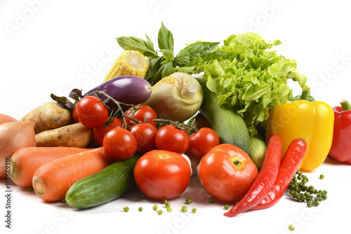 Printed kitchen splashbacks Fresh vegetables Different fresh organic vegetables for healthy on white background.(clean eating dieting and healthy organic food concept)