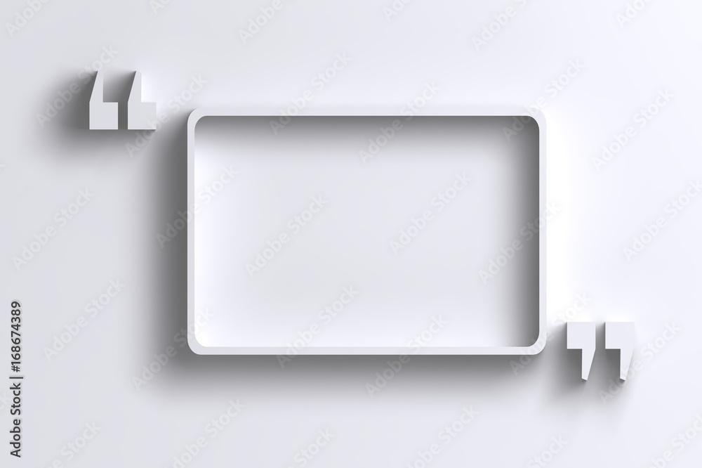 Fototapety, obrazy: 3D empty quotation marks frame on white wall
