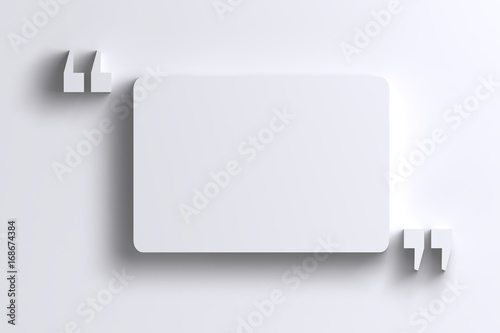 Fotomural  3D empty quotation marks frame on white wall