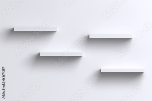 Fotografía  3D empty horizontal shelves on white wall with shadow