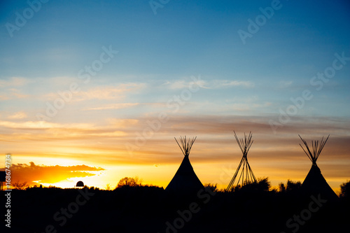 New Mexico TeePee Sunset Canvas Print