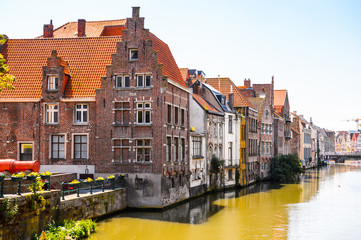 Fototapeta na wymiar Colorful buildings in the historic part of Ghent, Belgium.
