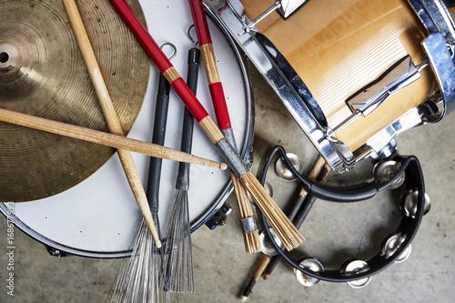 Fotografie, Obraz  a pile of drum equipment.