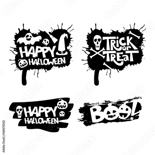 Foto auf Leinwand Aquarell Schädel Happy Halloween, Trick or treat, boo isolated quote design elements. Vector holiday illustration. Hand drawn doodle letters, skull and pumpkin for Halloween poster, greeting card, print or banner.