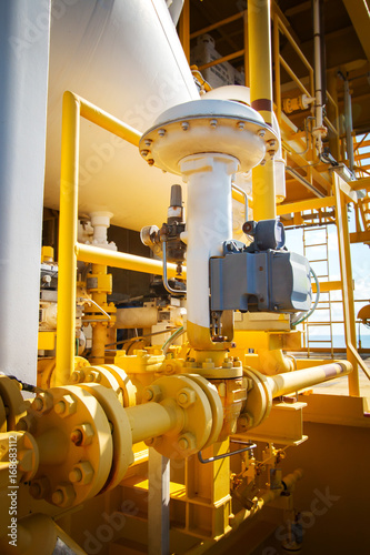 Photo  Actuator control valve,Pneumatic operate valve by PLC control at offshore oil an