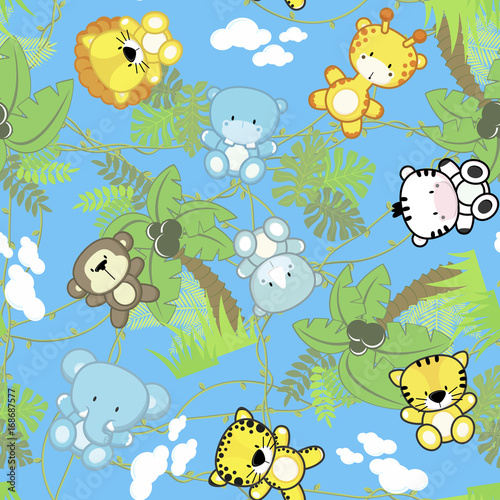 Illustration Of Seamless Pattern With Cute Safari Baby
