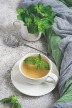 Natural Mint Tea And Fresh Min...