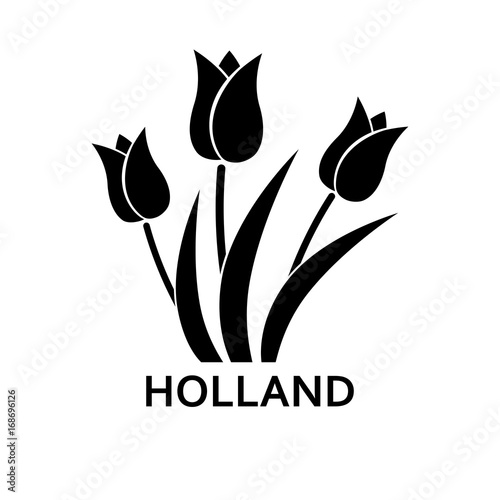 Foto  Tulips with Holland lettering simple icon