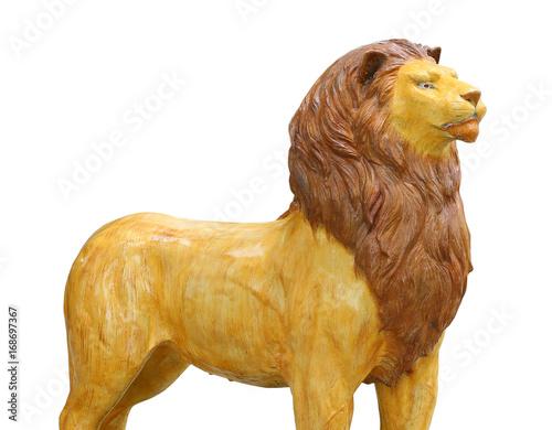 Statue de lion isolée sur fond blanc. Poster