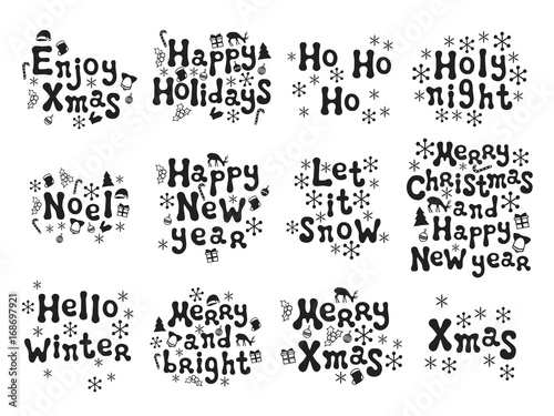 Christmas and new year calligraphy phrases set handwritten brush christmas and new year calligraphy phrases set handwritten brush seasons lettering collection xmas phrases m4hsunfo