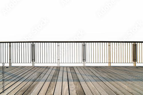 Leinwand Poster wooden floor and railings isolated