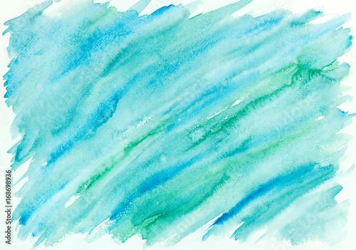 Plakat ręcznie malowane abstrakcyjne tło umyć akwarela w kolorze niebieskim i zielonym