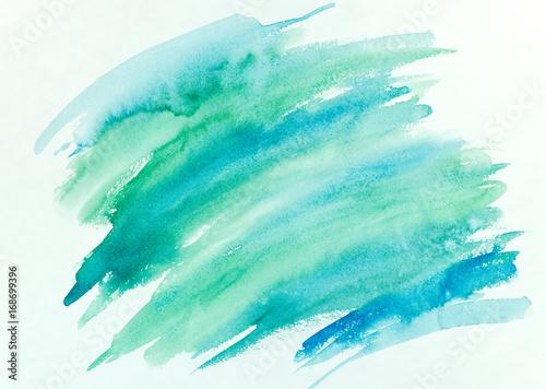 Plakat niebieski i zielony pociągnięcia pędzla akwarela streszczenie ręcznie malowane tła