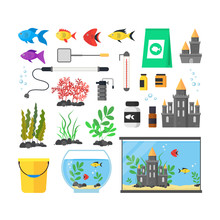 Aquarium With Fish, Blue Water And Equipment Set. Vector