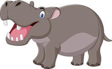 Cartoon Smiling Hippo Isolated...