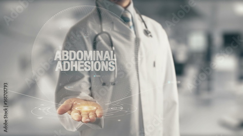 Doctor holding in hand Abdominal Adhesions Canvas Print