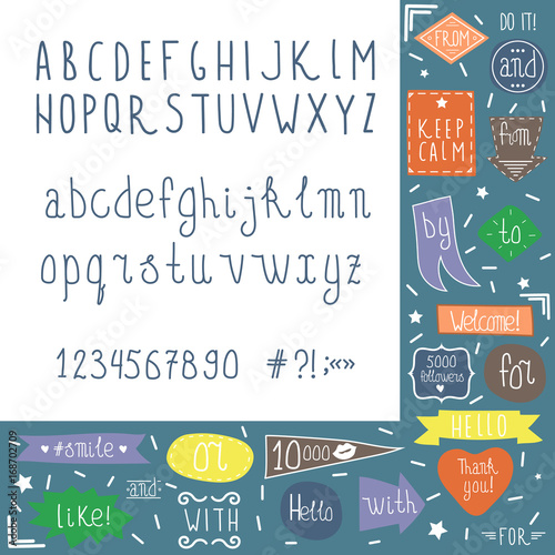 Fototapety, obrazy: Vector fun hand drawn kid alphabet letters with catchwords set
