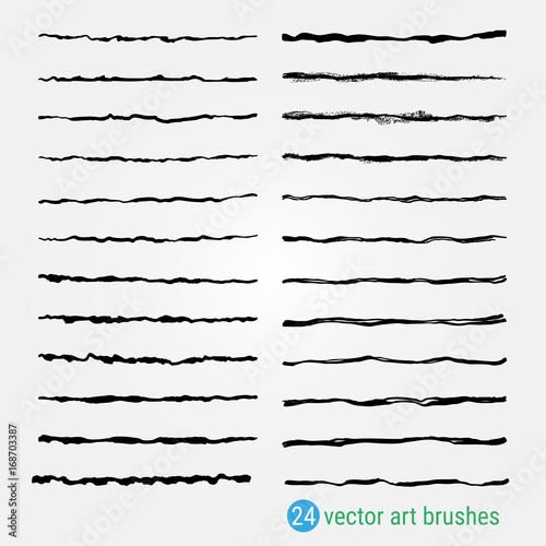 Fototapety, obrazy: Set of vector art brushes. Samples are stored in the palette.Uneven, rough texture. For decoration of illustrations in the style of Handmade. Ink paintbrush. High resolution image.