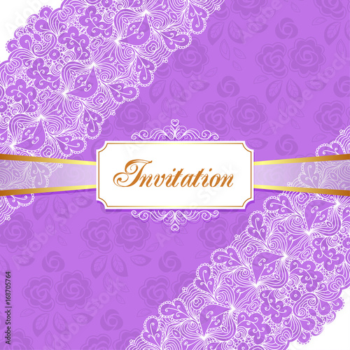 Elegant vintage wedding or birthday invitation template with lace elegant vintage wedding or birthday invitation template with lace corners vector illustration stopboris Images