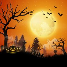 Halloween Night With Pumpkins ...