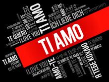 Ti Amo (I Love You In Italian) In Different Languages Of The World, Word Cloud Background