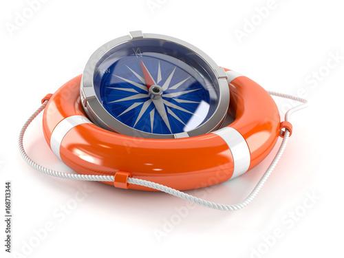 Fotografia  Compass with life buoy