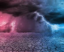 Storm And Thunder In Desert