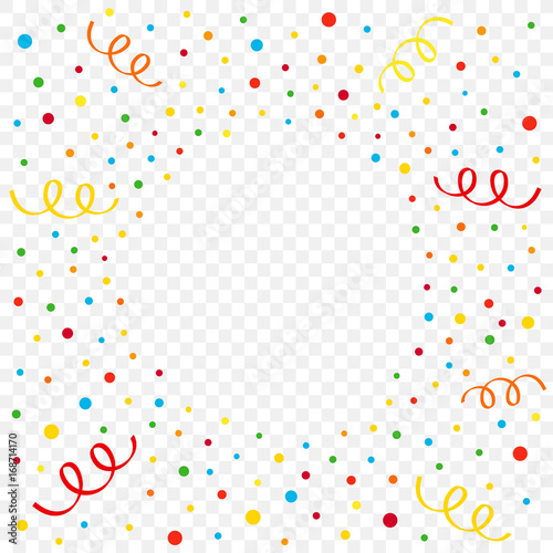 colorful confetti and ribbon on transparent background birthday new year or christmas vector illustration