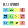 Learning Icons Set. Collection Of Laptop Ventilator, Information Base, Wireless Communications And Other Elements. Also Includes Symbols Such As Shine, Brightness, Analysis.