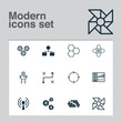 Machine Icons Set. Collection Of Information Components, Cyborg, Solution And Other Elements. Also Includes Symbols Such As Brain, Design, Toy.