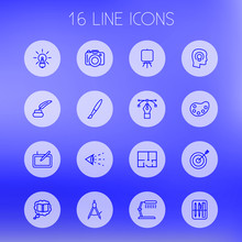 Set Of 16 Creative Outline Icons Set.Collection Of Dividers, Property Plan, Drawing Tools And Other Elements.