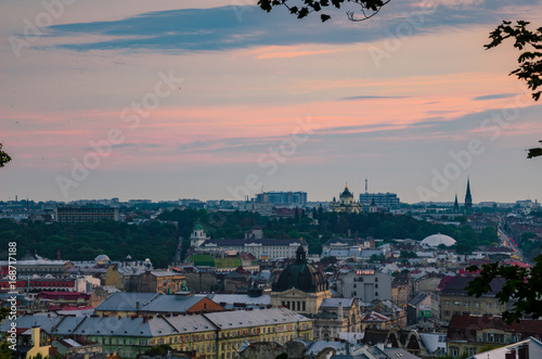 Photo sur Toile Europe Centrale Another Lviv city scape view from the High Castle during sunset in Ukraine