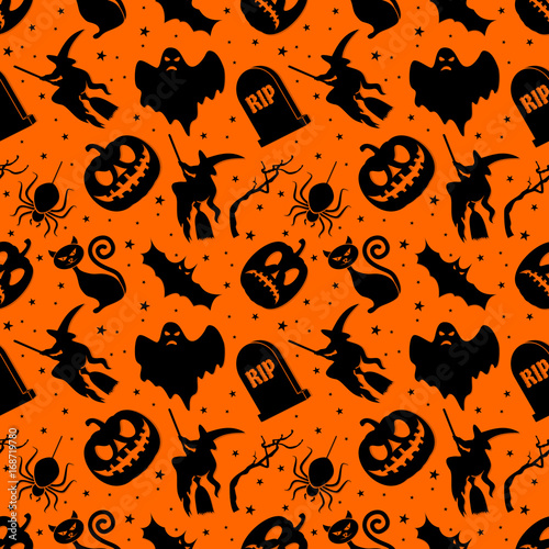 La pose en embrasure Halloween Halloween seamless pattern