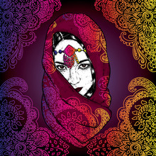 Beautiful Oriental Girl In A Scarf With Patterns. Vector Illustration For A Postcard Or A Poster.