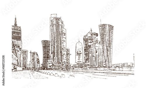 Sketch of Doha Qatar building in vector illustration  - Buy