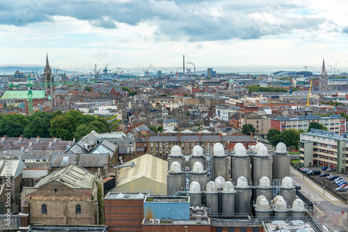 Photo  Aerial view of the city of Dublin, beer brewery in the foreground, Ireland