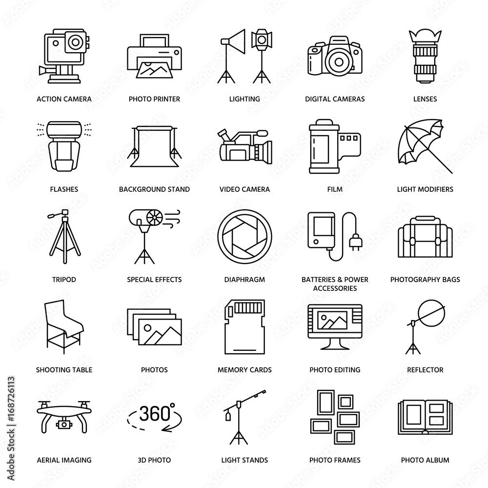 Fototapety, obrazy: Photography equipment flat line icons. Digital camera, photos, lighting, video cameras, photo accessories, memory card, tripod lens film. Vector illustration, signs for photo studio or store.