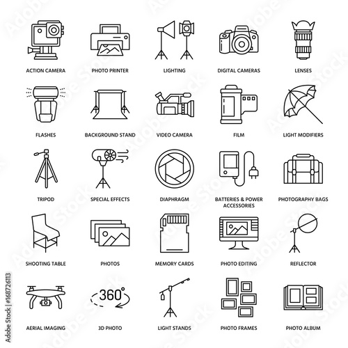 Obraz Photography equipment flat line icons. Digital camera, photos, lighting, video cameras, photo accessories, memory card, tripod lens film. Vector illustration, signs for photo studio or store. - fototapety do salonu