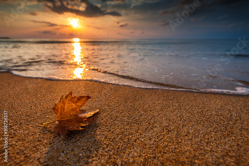 Foto op Canvas Herfst Beautiful sunrise over the sea