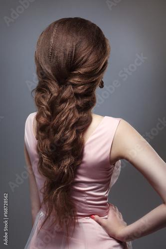 Elegant Wedding Braided Voluminous Hair On Long Dark Hair