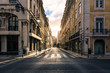 Sunrise over Street in City Center Lisbon Portugal Historic European City Beautiful Morning Scene
