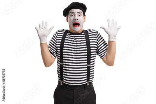 Fotografie, Obraz  Terrified mime artist