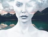 Młoda kobieta i natura krajobraz - 168736120