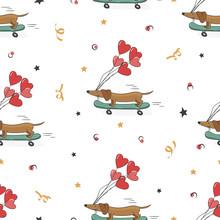 Seamless Pattern With Cute Dac...