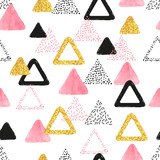 Seamless pattern with pink, black and golden triangles. Vector abstract background with   geometric shapes. - 168736598