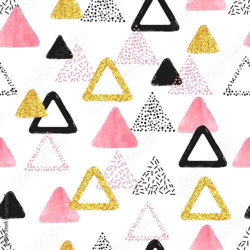 wzor-z-trojkatow-rozowy-czarny-i-zloty-wektorowy-abstrakcjonistyczny-tlo