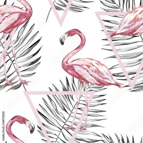 bezszwowy-wzor-z-tropikalnym-flamingiem-i-liscmi-element-do-projektowania-zaproszen-plakatow-filmowych-tkanin-i-innych-przedmiotow