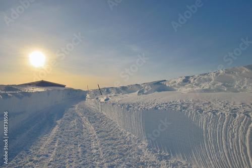 Poster Reflexion Sunset landscape in Greenland