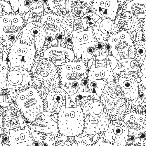 Fotografía  Funny monsters seamless pattern for coloring book